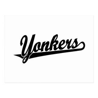 Yonkers script logo in black postcard