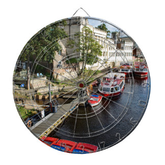 York City Guildhall and red boats Dartboard