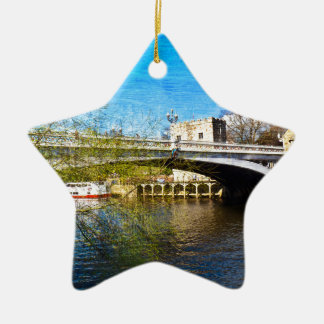York City Lendal bridge with textured background Ceramic Star Decoration