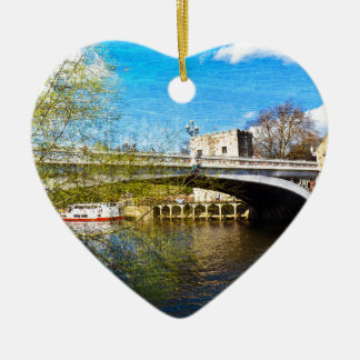York City Lendal bridge with textured background Christmas Ornament