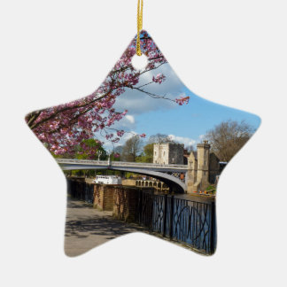 York City river landscape Ceramic Star Decoration
