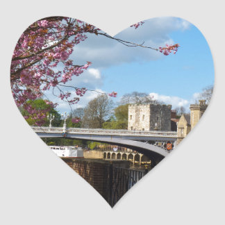 York City river landscape Heart Sticker