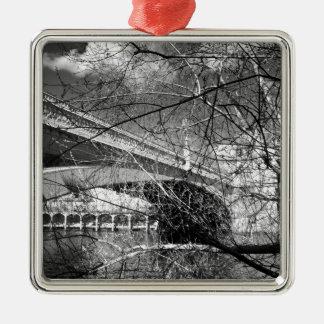 York City river landscape Silver-Colored Square Decoration