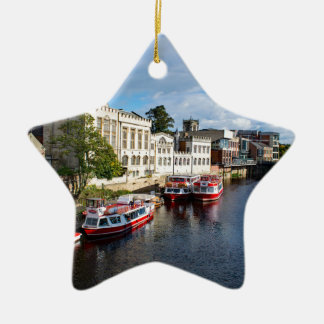 York Guildhall and river Ouse Ceramic Star Decoration