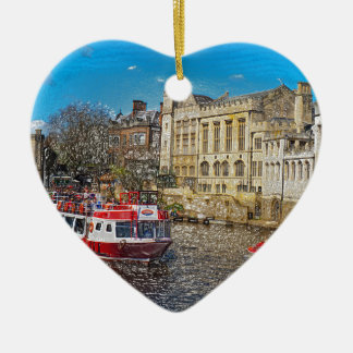 York Guildhall with river boat Ceramic Heart Decoration