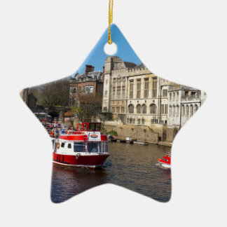 York Guildhall with river boat Ceramic Star Decoration