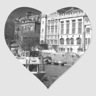 York Guildhall with river boat Heart Sticker