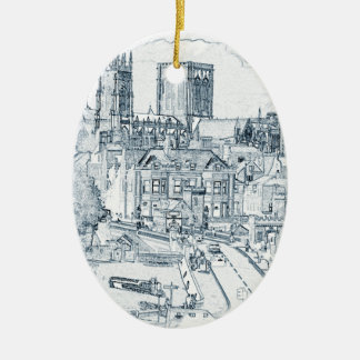 York, in pen and ink christmas ornament
