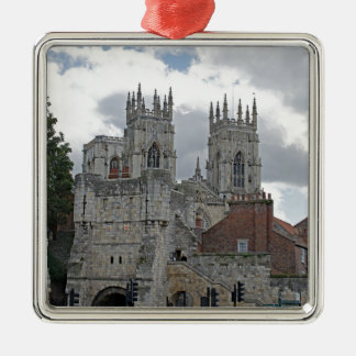 York Minster and Bootham Bar Silver-Colored Square Decoration