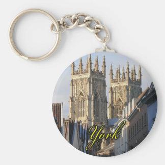 York Minster England Basic Round Button Key Ring