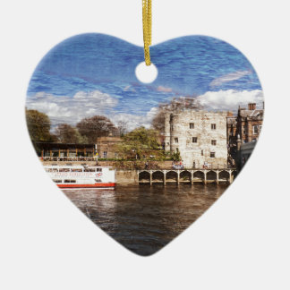 York river Ouse on texture Ceramic Heart Decoration