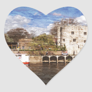 York river Ouse on texture Heart Sticker