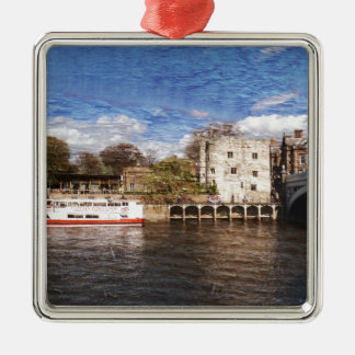 York river Ouse on texture Silver-Colored Square Decoration
