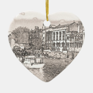 York with pencil and tint ceramic heart decoration