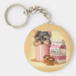 Yorkie and chocolate cupcakes basic round button key ring
