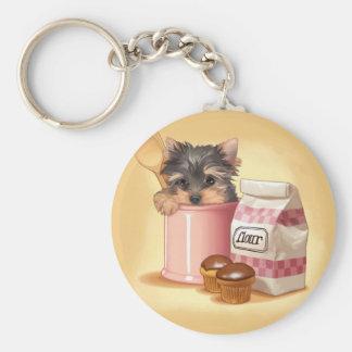 Yorkie and chocolate cupcakes key ring