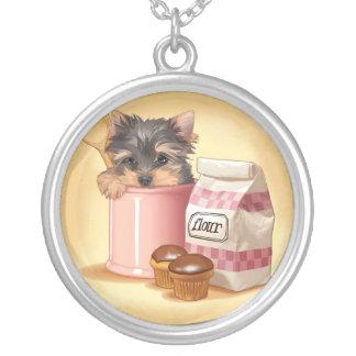 Yorkie and chocolate cupcakes pendant