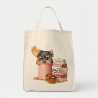Yorkie and chocolate cupcakes tote bag