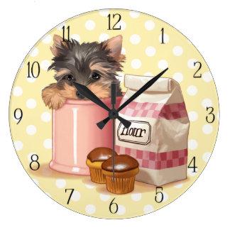 Yorkie and chocolate cupcakes wall clock