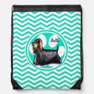 Yorkie; Aqua Green Chevron Drawstring Bag