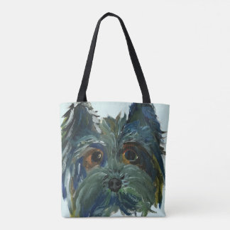 Yorkie Art Cute Painting in Blue and Green Tote Bag