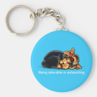 Yorkie Being Adorable Off-Leash Art™ Key Ring