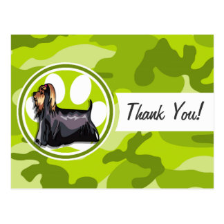 Yorkie; bright green camo, camouflage post card
