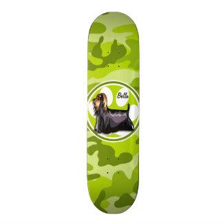 Yorkie; bright green camo, camouflage skate boards