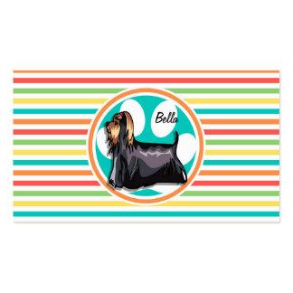 Yorkie Bright Rainbow Stripes Business Card Template