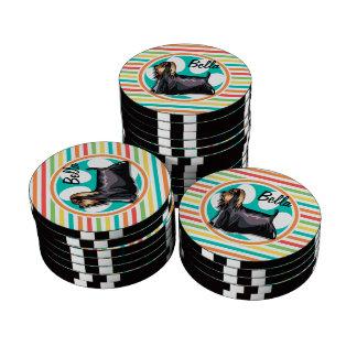 Yorkie; Bright Rainbow Stripes Set Of Poker Chips