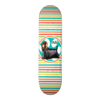 Yorkie Bright Rainbow Stripes Skate Board Deck