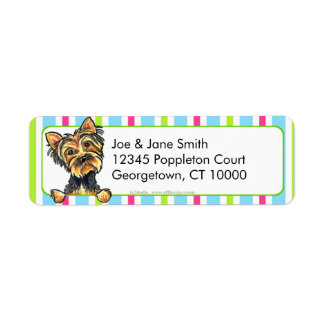 Yorkie Candy Stripes Return Address Label