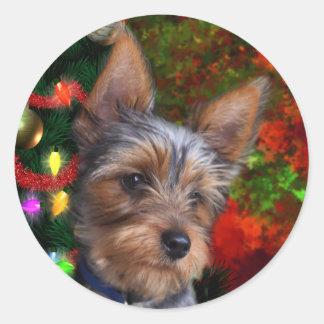 Yorkie Christmas Classic Round Sticker