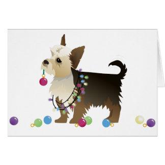 Yorkie Christmas Design Greeting Card