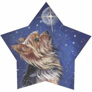 Yorkie Christmas Pin Photo Sculpture Badge