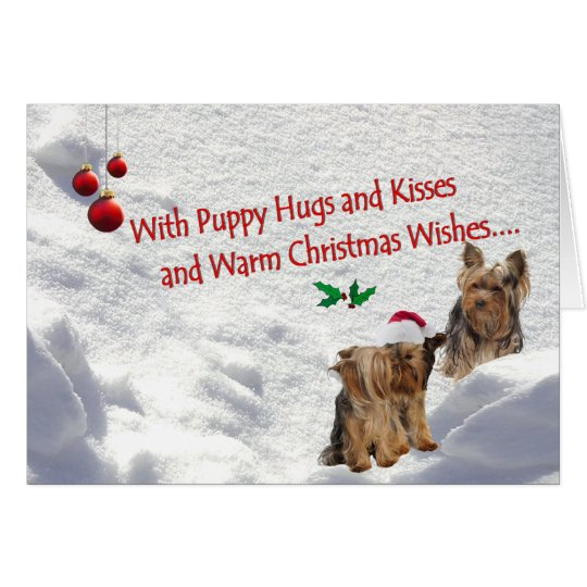 Yorkie Christmas Snow Scene Greeting card