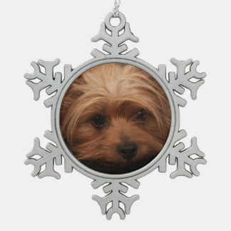 Yorkie Classic Pout Snowflake Pewter Christmas Ornament