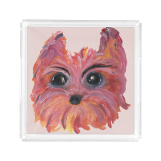 Yorkie Cute Dog Art in Pink and Orange Acrylic Tray