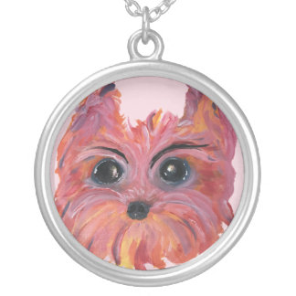 Yorkie Cute Dog Art in Pink and Orange Silver Plated Necklace