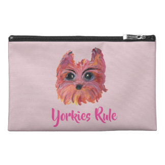 Yorkie Cute Dog Art in Pink and Orange Travel Accessory Bag
