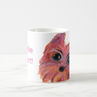Yorkie Cute Dog Painting in Pink and Orange Coffee Mug