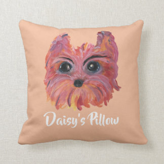 Yorkie Cute Dog Painting in Pink and Orange Cushion