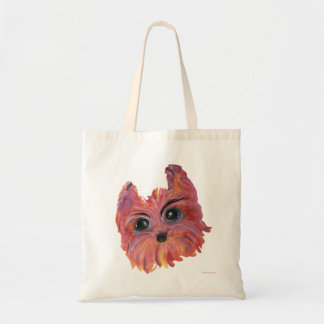 Yorkie Cute Dog Painting in Pink and Orange Tote Bag