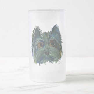 Yorkie Cute Puppy Painting in Blue and Green Frosted Glass Beer Mug