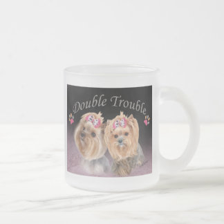 Yorkie Double Trouble Frosted Glass Mug