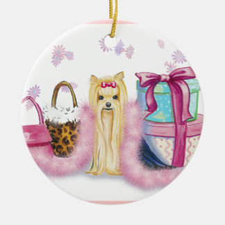 Yorkie Dress Up Christmas Ornament