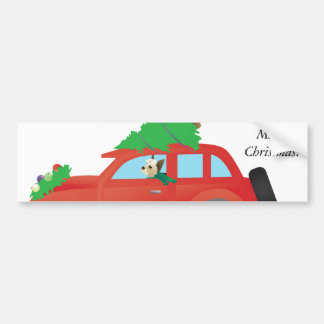 Yorkie Driving a Christmas Car with a tree on top Bumper Sticker