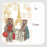 Yorkie Eiffel Tower Paris Gift Tags Square Stickers