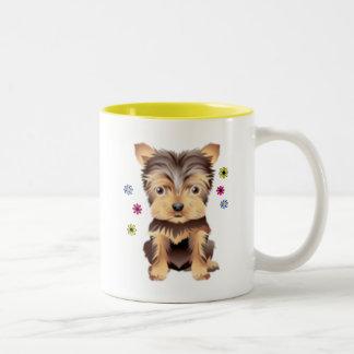 Yorkie Flowers Two-Tone Coffee Mug