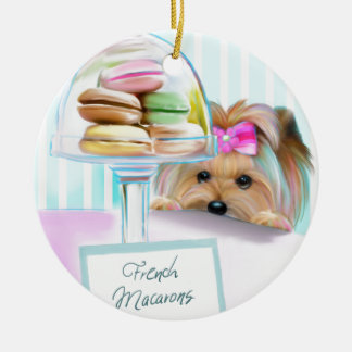 Yorkie French Macarons Christmas Ornament